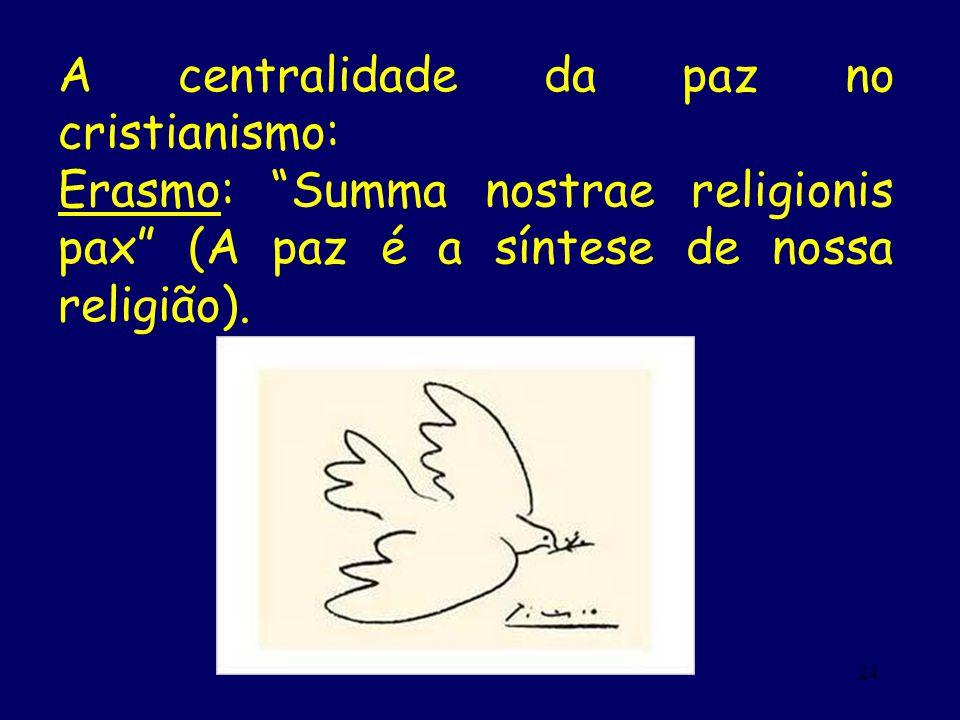 24 A centralidade da paz no cristianismo: Erasmo: Summa nostrae religionis pax (A paz é a síntese de nossa religião).