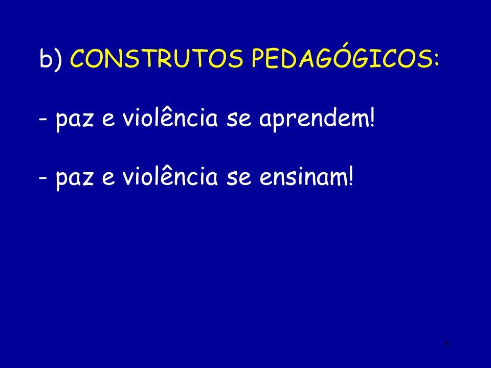 5 b) CONSTRUTOS PEDAGÓGICOS: - paz e violência se aprendem! - paz e violência se ensinam!