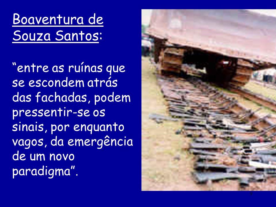 9 Boaventura de Souza Santos: entre as ruínas que se escondem atrás das fachadas, podem pressentir-se os sinais, por enquanto vagos, da emergência de