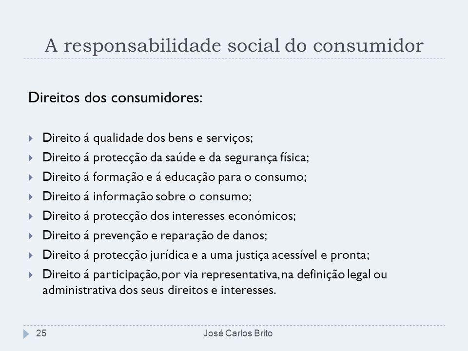A responsabilidade social do consumidor José Carlos Brito25 Direitos dos consumidores: qualidade Direito á qualidade dos bens e serviços; Direito á pr