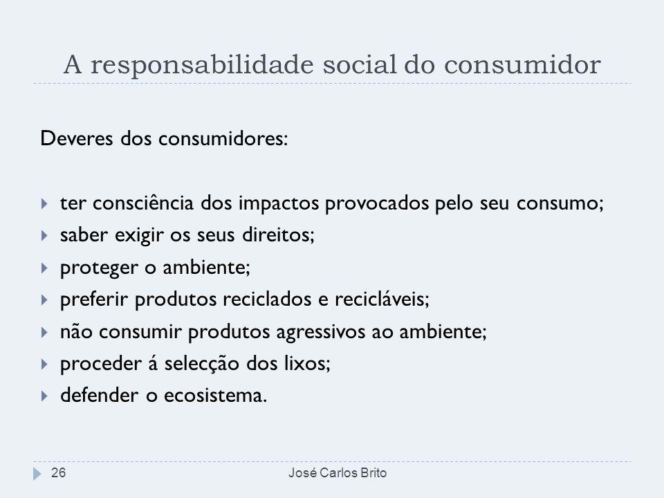 A responsabilidade social do consumidor José Carlos Brito26 Deveres dos consumidores: impactos provocados ter consciência dos impactos provocados pelo