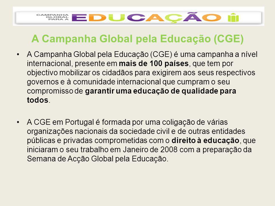 A Campanha Global pela Educação (CGE) A Coligação é actualmente constituída por: AIDGLOBAL – Acção e Integração para o Desenvolvimento Global Associação PAR – Respostas Sociais Confederação Nacional de Acção Sobre Trabalho Infantil (CNASTI) Comité Português para a Unicef Escola Superior de Educação do Porto Escola Superior de Educação do Instituto Politécnico de Viana do Castelo Fundação Champagnat Fundação Gonçalo da Silveira (FGS) Instituto Marquês de Valle Flôr (IMVF) OIKOS – cooperação e desenvolvimento Com o apoio de: Alto Comissariado para a Imigração e o Diálogo Intercultural (ACIDI) Centro Norte Sul – Conselho da Europa Objectivo 2015 – Campanha do Milénio das Nações Unidas Pobreza Zero – Campanha Global Contra a Pobreza