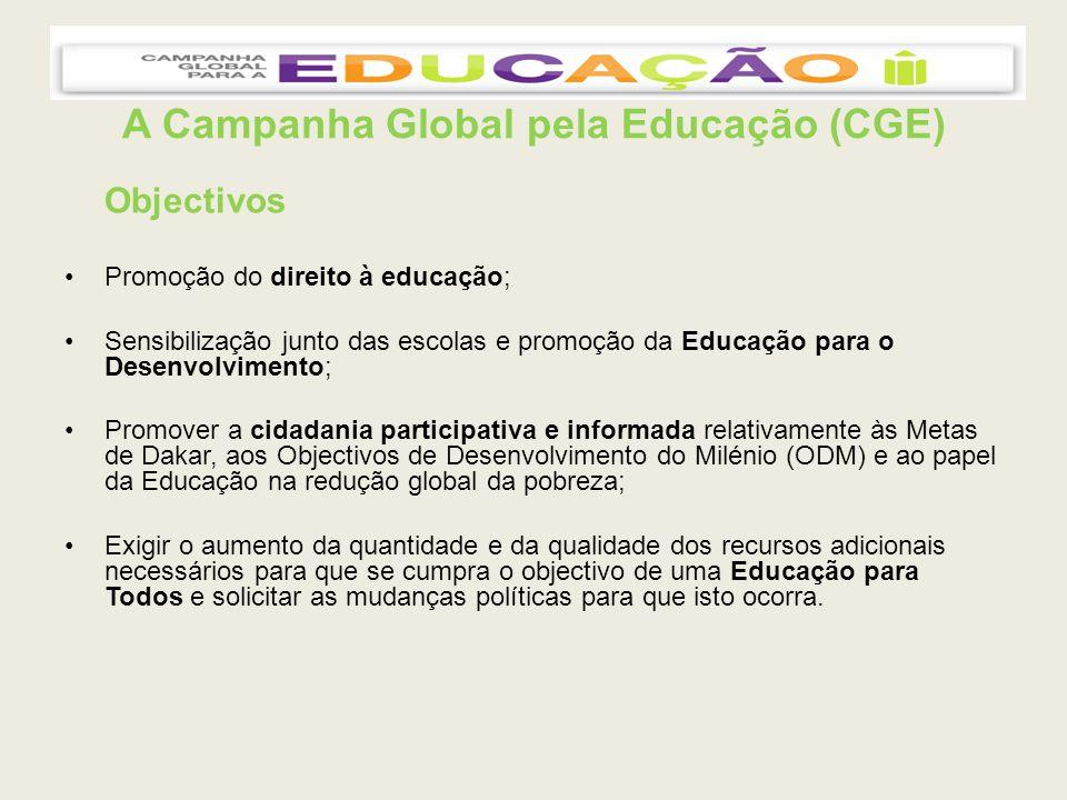 A Campanha Global pela Educação (CGE) Objectivos Promoção do direito à educação; Sensibilização junto das escolas e promoção da Educação para o Desenvolvimento; Promover a cidadania participativa e informada relativamente às Metas de Dakar, aos Objectivos de Desenvolvimento do Milénio (ODM) e ao papel da Educação na redução global da pobreza; Exigir o aumento da quantidade e da qualidade dos recursos adicionais necessários para que se cumpra o objectivo de uma Educação para Todos e solicitar as mudanças políticas para que isto ocorra.