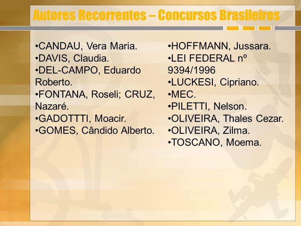 Autores Recorrentes – Concursos Brasileiros CANDAU, Vera Maria. DAVIS, Claudia. DEL-CAMPO, Eduardo Roberto. FONTANA, Roseli; CRUZ, Nazaré. GADOTTTI, M