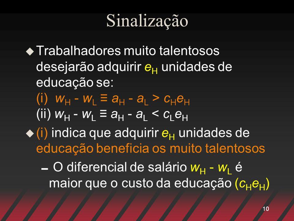 10 Sinalização u Trabalhadores muito talentosos desejarão adquirir e H unidades de educação se: (i) w H - w L a H - a L > c H e H (ii) w H - w L a H - a L < c L e H u (i) indica que adquirir e H unidades de educação beneficia os muito talentosos O diferencial de salário w H - w L é maior que o custo da educação (c H e H )