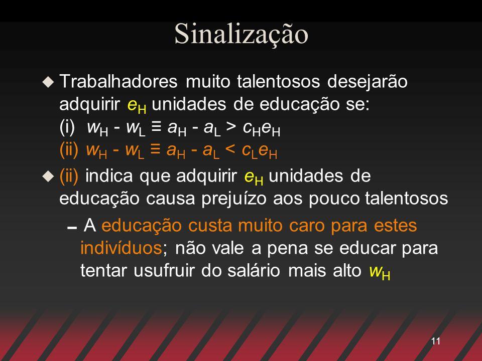 11 Sinalização u Trabalhadores muito talentosos desejarão adquirir e H unidades de educação se: (i) w H - w L a H - a L > c H e H (ii) w H - w L a H -