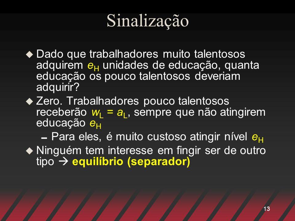 13 Sinalização u Dado que trabalhadores muito talentosos adquirem e H unidades de educação, quanta educação os pouco talentosos deveriam adquirir? u Z