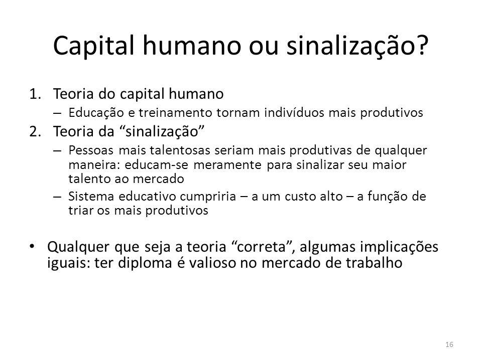 Capital humano ou sinalização? 1.Teoria do capital humano – Educação e treinamento tornam indivíduos mais produtivos 2.Teoria da sinalização – Pessoas