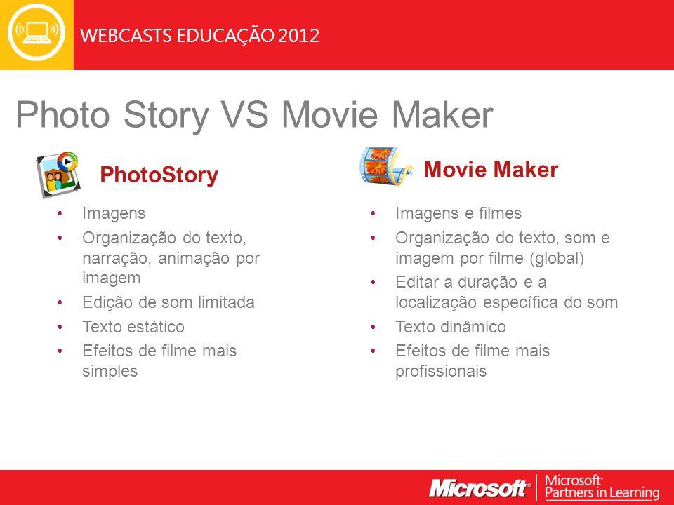 WEBCASTS EDUCAÇÃO 2012 Imagens e filmes Organização do texto, som e imagem por filme (global) Editar a duração e a localização específica do som Texto