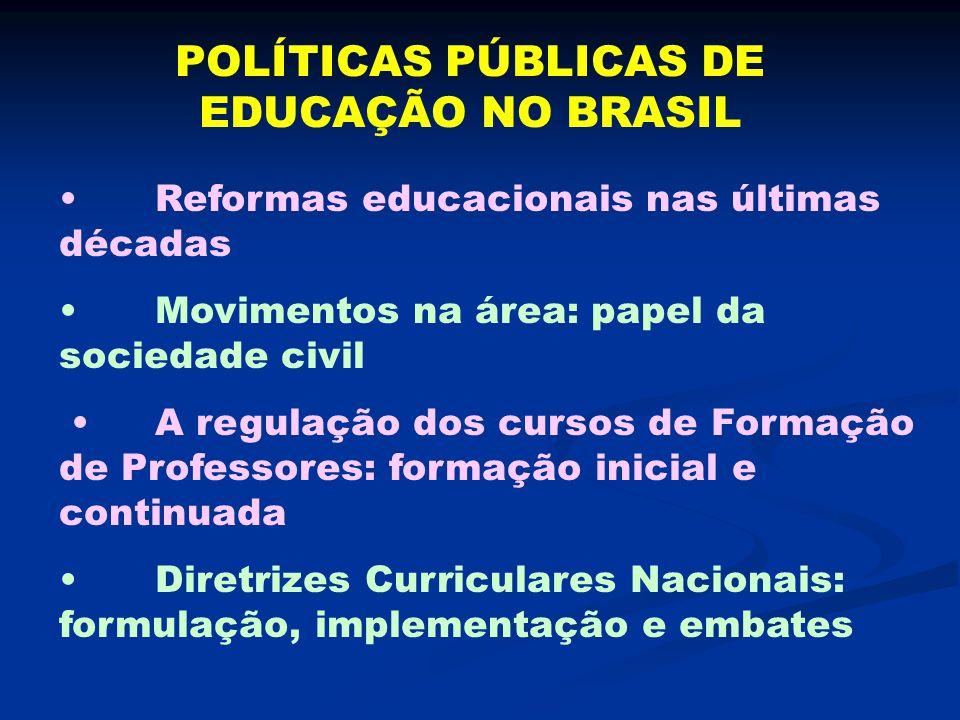 POLÍTICAS PÚBLICAS DE EDUCAÇÃO NO BRASIL Reformas educacionais nas últimas décadas Movimentos na área: papel da sociedade civil A regulação dos cursos