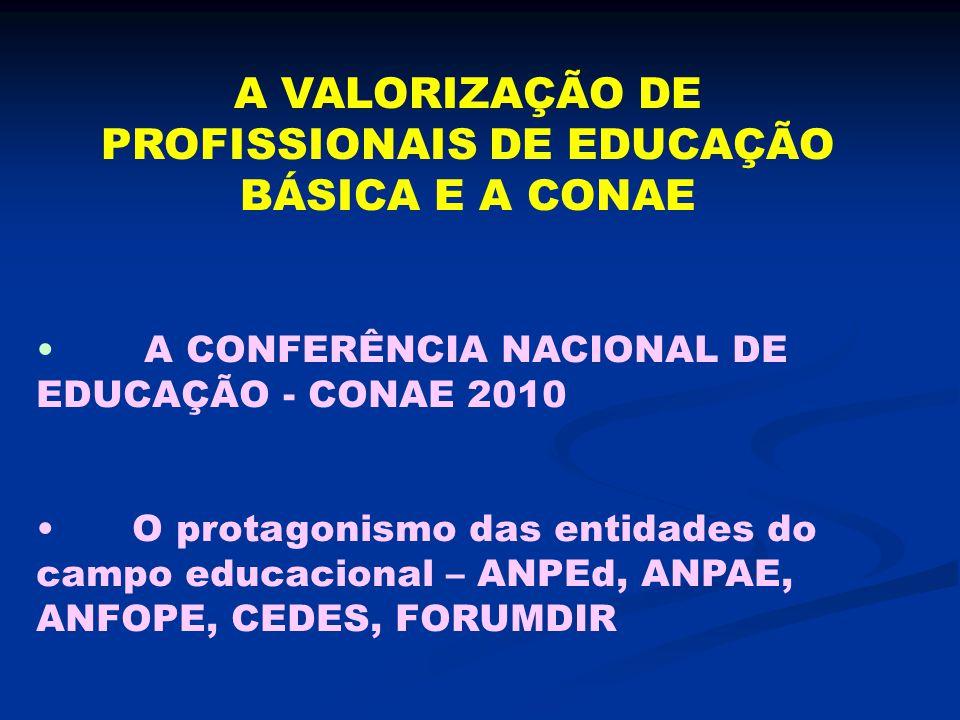 A VALORIZAÇÃO DE PROFISSIONAIS DE EDUCAÇÃO BÁSICA E A CONAE A CONFERÊNCIA NACIONAL DE EDUCAÇÃO - CONAE 2010 O protagonismo das entidades do campo educ
