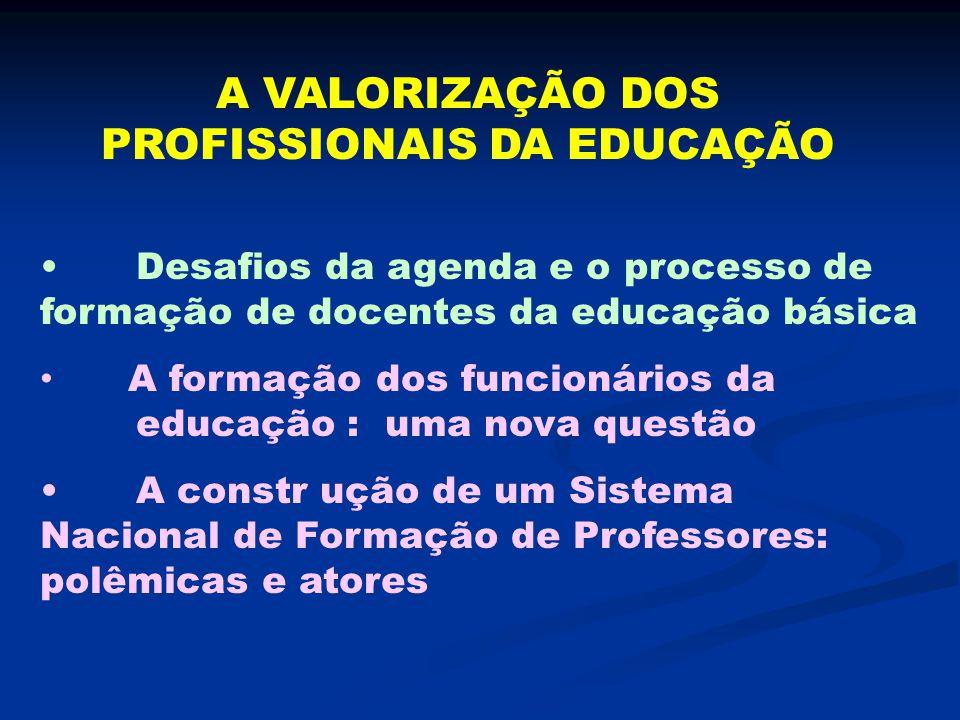 A VALORIZAÇÃO DOS PROFISSIONAIS DA EDUCAÇÃO Desafios da agenda e o processo de formação de docentes da educação básica A formação dos funcionários da