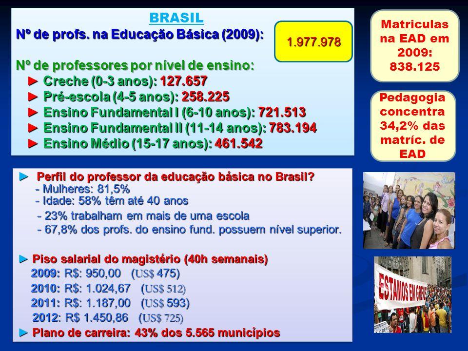 Nº de profs. na Educação Básica (2009): Nº de professores por nível de ensino: Creche (0-3 anos): 127.657 Pré-escola (4-5 anos): 258.225 Ensino Fundam