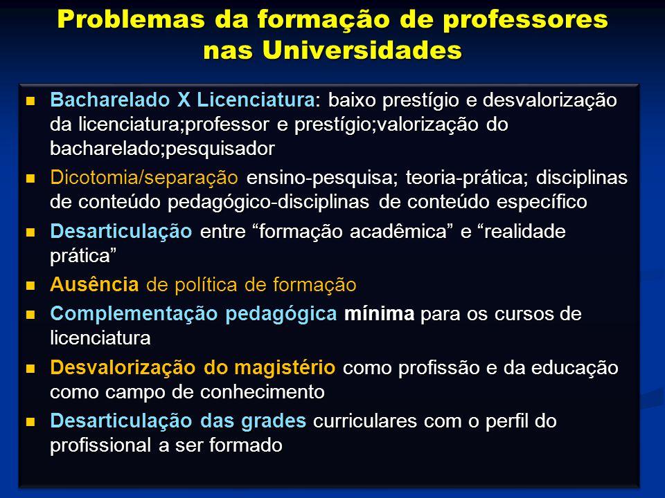 Bacharelado X Licenciatura: baixo prestígio e desvalorização da licenciatura;professor e prestígio;valorização do bacharelado;pesquisador Bacharelado