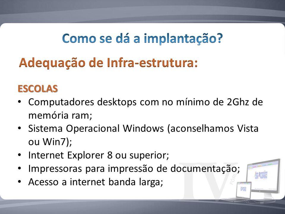 ESCOLAS Computadores desktops com no mínimo de 2Ghz de memória ram; Sistema Operacional Windows (aconselhamos Vista ou Win7); Internet Explorer 8 ou superior; Impressoras para impressão de documentação; Acesso a internet banda larga;