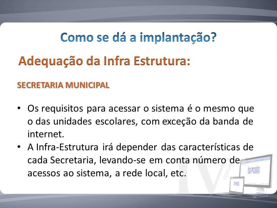 SECRETARIA MUNICIPAL Os requisitos para acessar o sistema é o mesmo que o das unidades escolares, com exceção da banda de internet.