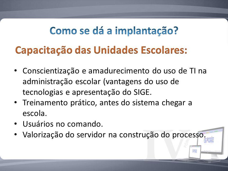 Conscientização e amadurecimento do uso de TI na administração escolar (vantagens do uso de tecnologias e apresentação do SIGE.
