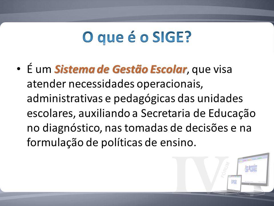 Sistema de Gestão Escolar É um Sistema de Gestão Escolar, que visa atender necessidades operacionais, administrativas e pedagógicas das unidades escolares, auxiliando a Secretaria de Educação no diagnóstico, nas tomadas de decisões e na formulação de políticas de ensino.