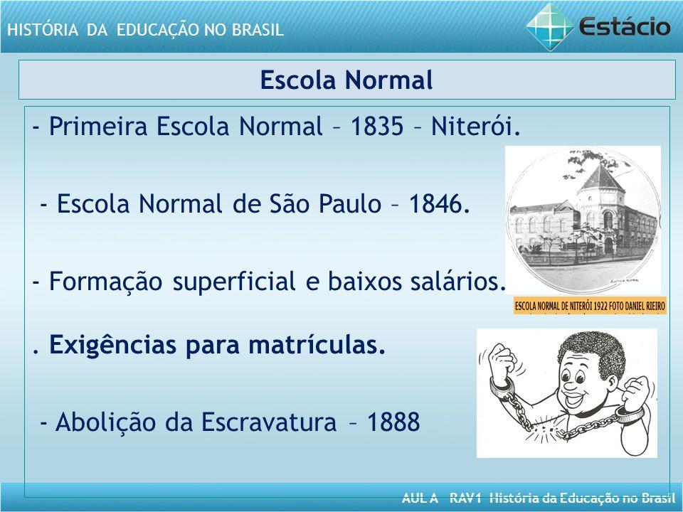 AUL A RAV1 História da Educação no Brasil HISTÓRIA DA EDUCAÇÃO NO BRASIL Escola Normal - Primeira Escola Normal – 1835 – Niterói. - Escola Normal de S