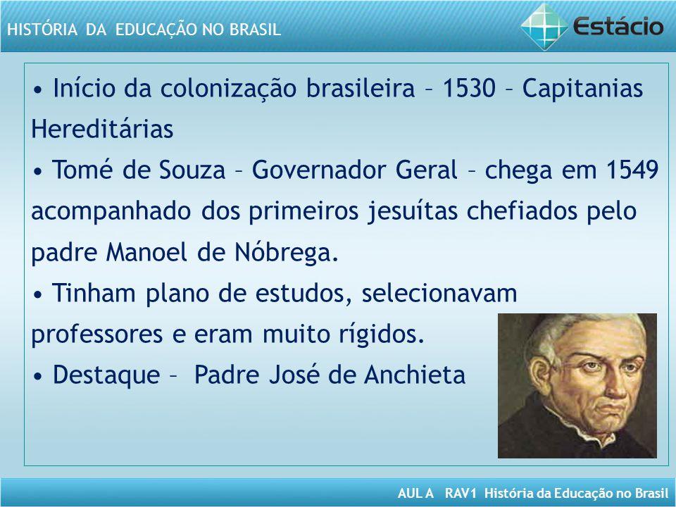 AUL A RAV1 História da Educação no Brasil HISTÓRIA DA EDUCAÇÃO NO BRASIL Início da colonização brasileira – 1530 – Capitanias Hereditárias Tomé de Sou