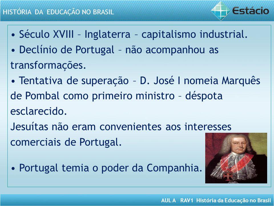 AUL A RAV1 História da Educação no Brasil HISTÓRIA DA EDUCAÇÃO NO BRASIL Século XVIII – Inglaterra – capitalismo industrial. Declínio de Portugal – nã