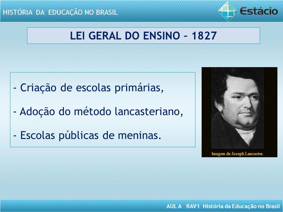 AUL A RAV1 História da Educação no Brasil HISTÓRIA DA EDUCAÇÃO NO BRASIL LEI GERAL DO ENSINO – 1827 - Criação de escolas primárias, - Adoção do método