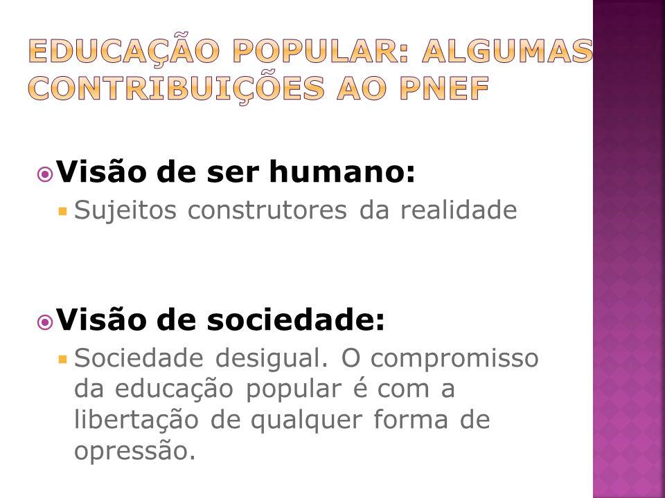Visão de ser humano: Sujeitos construtores da realidade Visão de sociedade: Sociedade desigual.