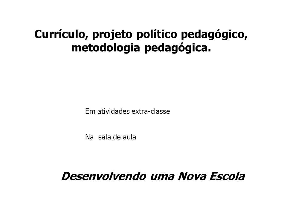 Currículo, projeto político pedagógico, metodologia pedagógica. Em atividades extra-classe Na sala de aula Desenvolvendo uma Nova Escola