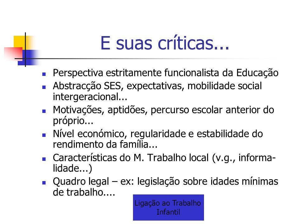 E suas críticas... Perspectiva estritamente funcionalista da Educação Abstracção SES, expectativas, mobilidade social intergeracional... Motivações, a