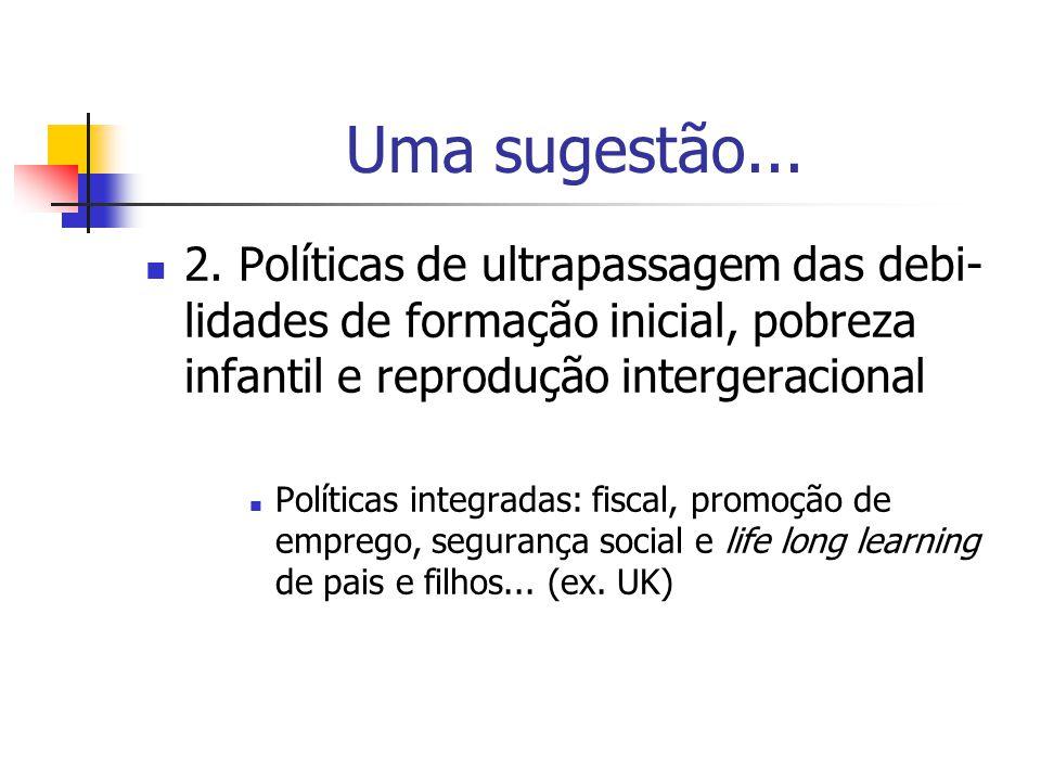 Uma sugestão... 2. Políticas de ultrapassagem das debi- lidades de formação inicial, pobreza infantil e reprodução intergeracional Políticas integrada