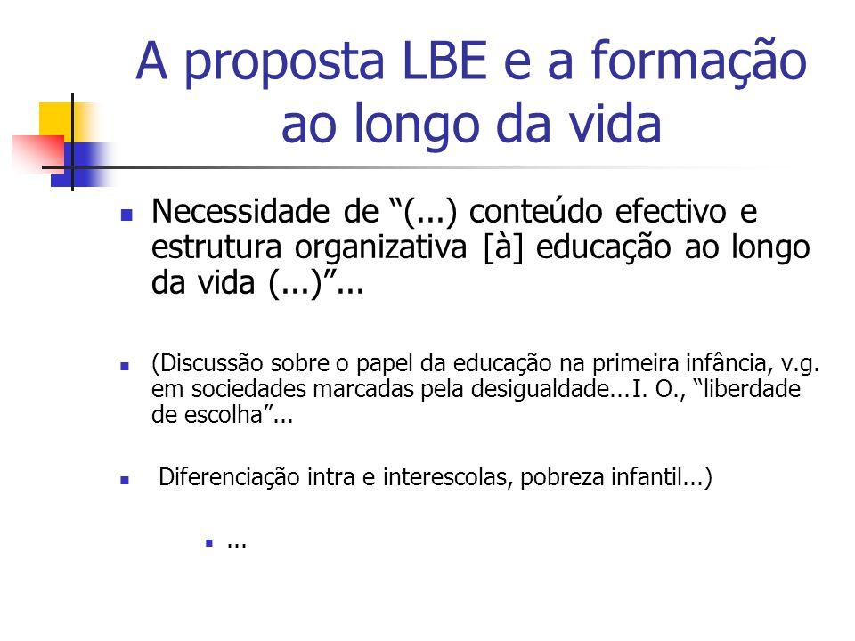 A proposta LBE e a formação ao longo da vida Necessidade de (...) conteúdo efectivo e estrutura organizativa [à] educação ao longo da vida (...)...