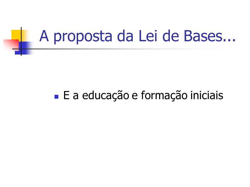 A proposta da Lei de Bases... E a educação e formação iniciais