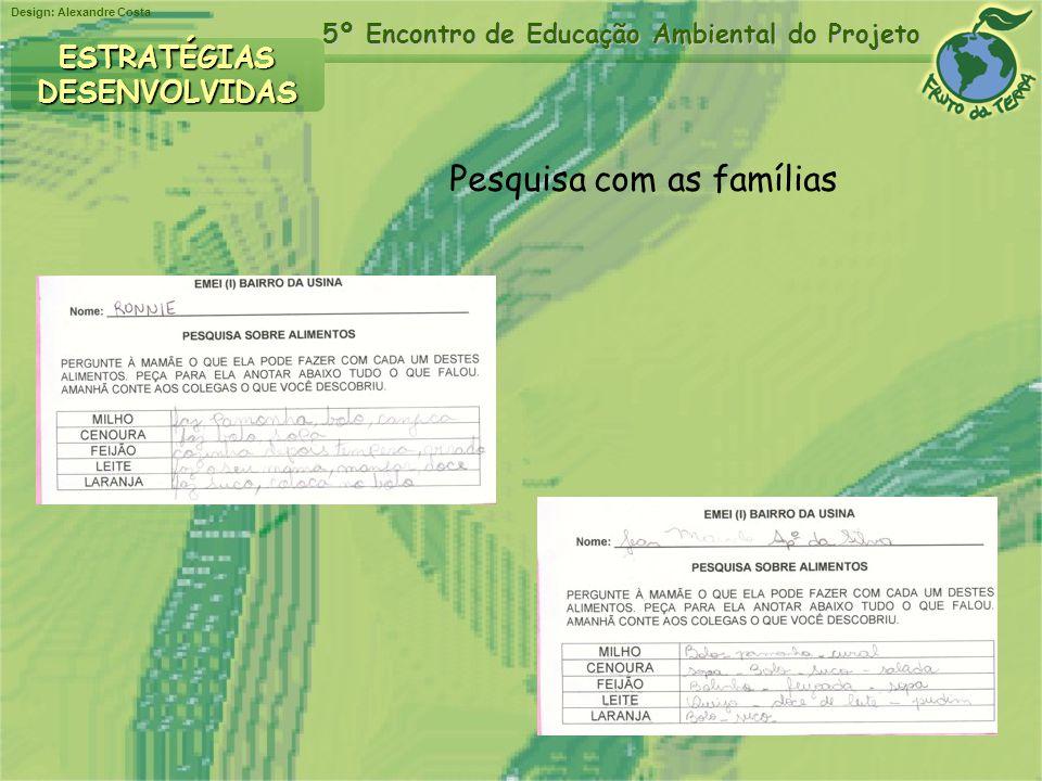 Design: Alexandre Costa 5º Encontro de Educação Ambiental do Projeto ESTRATÉGIASDESENVOLVIDAS Pesquisa com as famílias