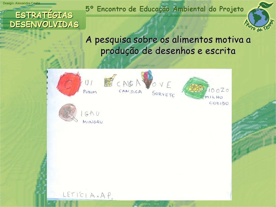 Design: Alexandre Costa 5º Encontro de Educação Ambiental do Projeto A pesquisa sobre os alimentos motiva a produção de desenhos e escrita produção de
