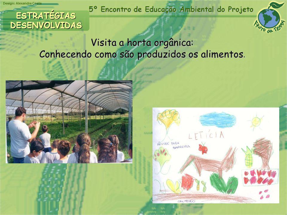 Design: Alexandre Costa 5º Encontro de Educação Ambiental do Projeto Visita a horta orgânica: Conhecendo como são produzidos os alimentos. ESTRATÉGIAS