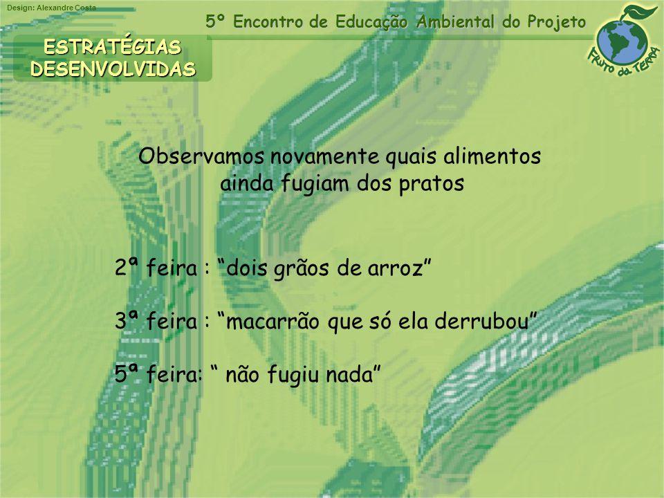 Design: Alexandre Costa 5º Encontro de Educação Ambiental do Projeto ESTRATÉGIASDESENVOLVIDAS Observamos novamente quais alimentos ainda fugiam dos pr