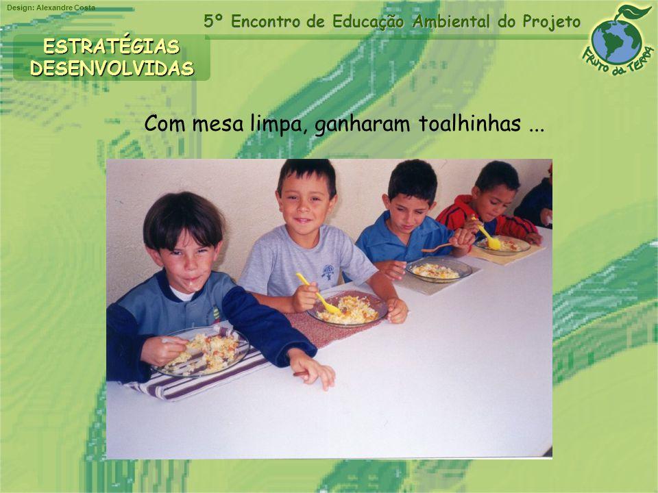 Design: Alexandre Costa 5º Encontro de Educação Ambiental do Projeto ESTRATÉGIASDESENVOLVIDAS Com mesa limpa, ganharam toalhinhas...