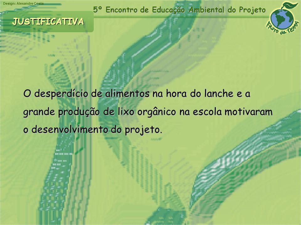 Design: Alexandre Costa 5º Encontro de Educação Ambiental do Projeto O desperdício de alimentos na hora do lanche e a grande produção de lixo orgânico