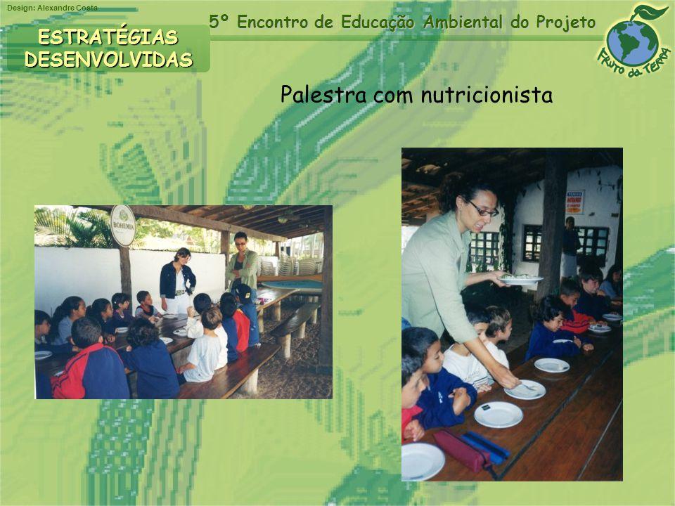 Design: Alexandre Costa 5º Encontro de Educação Ambiental do Projeto Palestra com nutricionista ESTRATÉGIASDESENVOLVIDAS