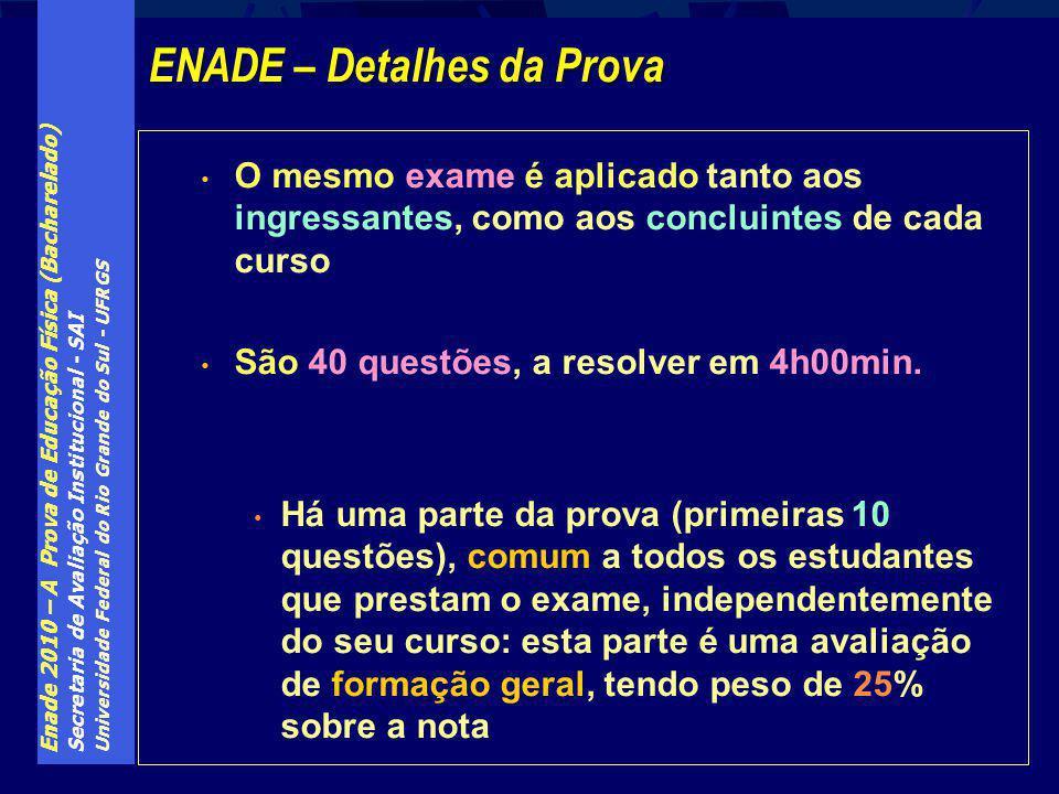 Enade 2010 – A Prova de Educação Física (Bacharelado) Secretaria de Avaliação Institucional - SAI Universidade Federal do Rio Grande do Sul - UFRGS O