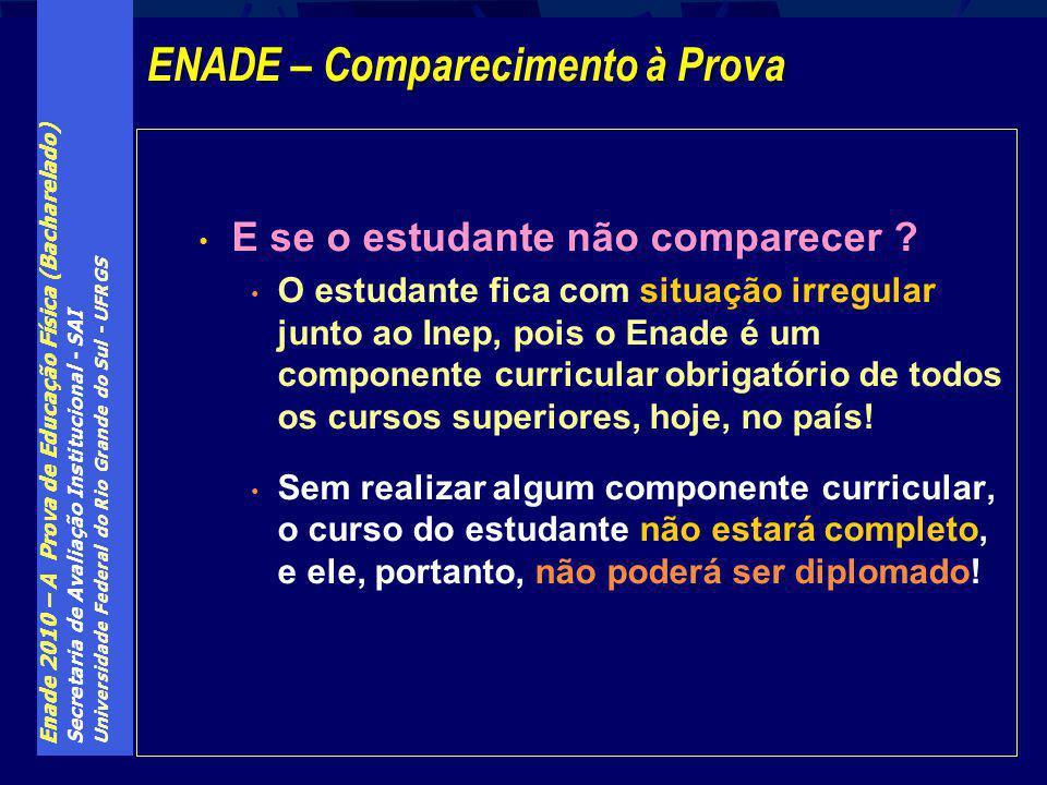 Enade 2010 – A Prova de Educação Física (Bacharelado) Secretaria de Avaliação Institucional - SAI Universidade Federal do Rio Grande do Sul - UFRGS E