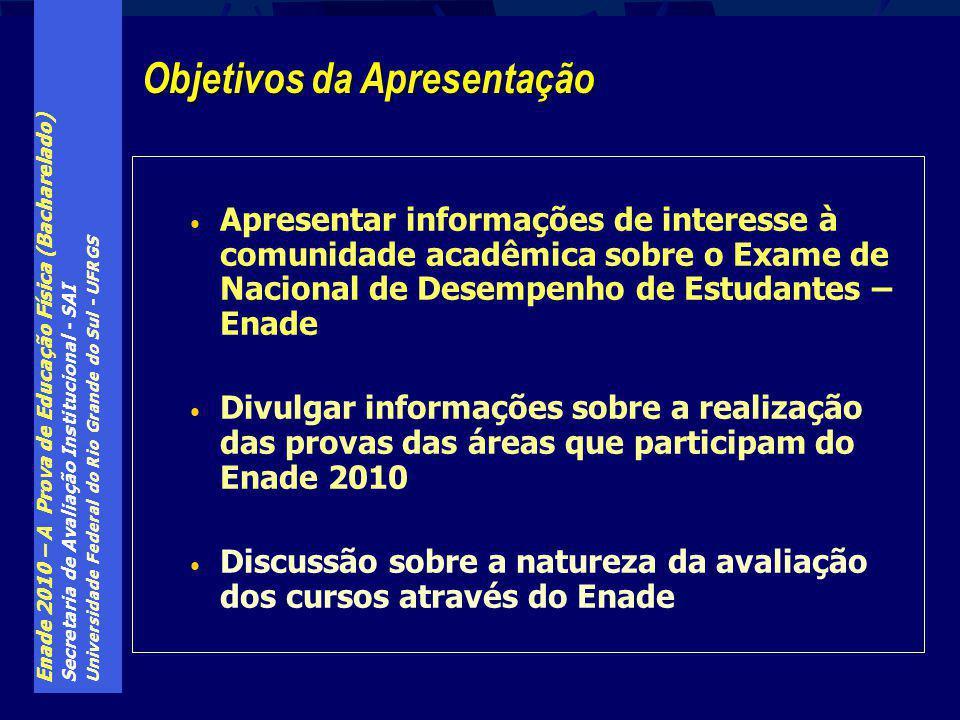 Enade 2010 – A Prova de Educação Física (Bacharelado) Secretaria de Avaliação Institucional - SAI Universidade Federal do Rio Grande do Sul - UFRGS Ap