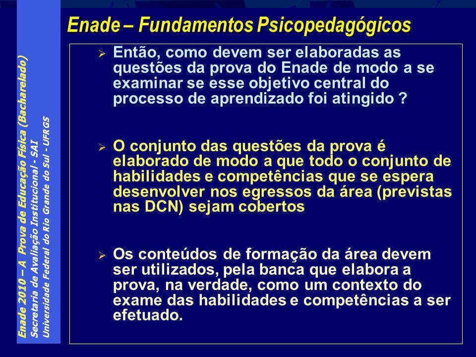 Enade 2010 – A Prova de Educação Física (Bacharelado) Secretaria de Avaliação Institucional - SAI Universidade Federal do Rio Grande do Sul - UFRGS En