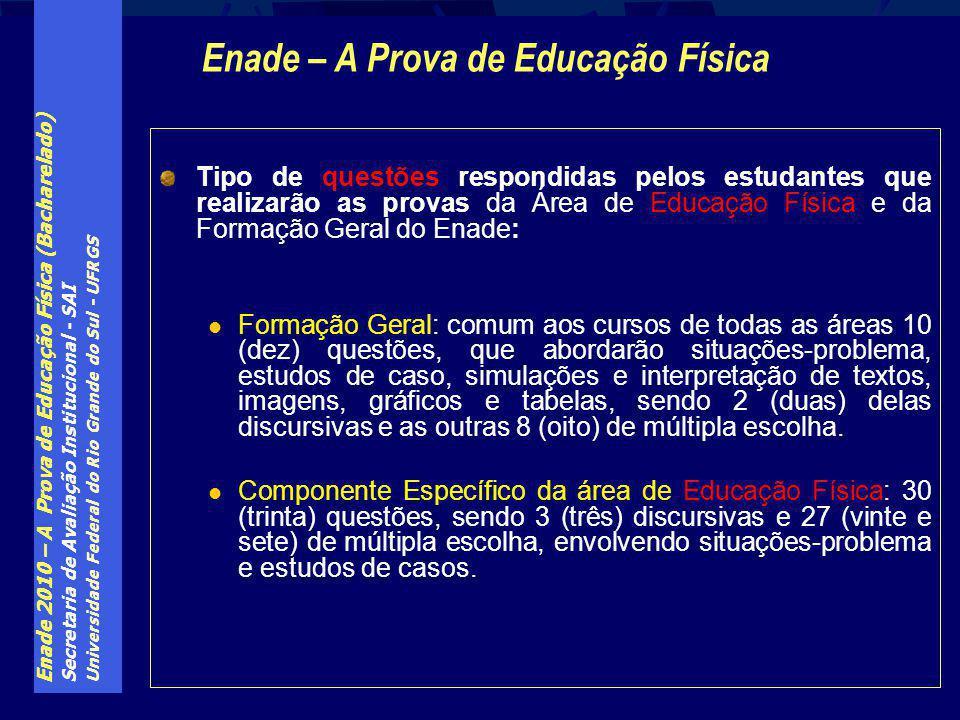 Enade 2010 – A Prova de Educação Física (Bacharelado) Secretaria de Avaliação Institucional - SAI Universidade Federal do Rio Grande do Sul - UFRGS Ti