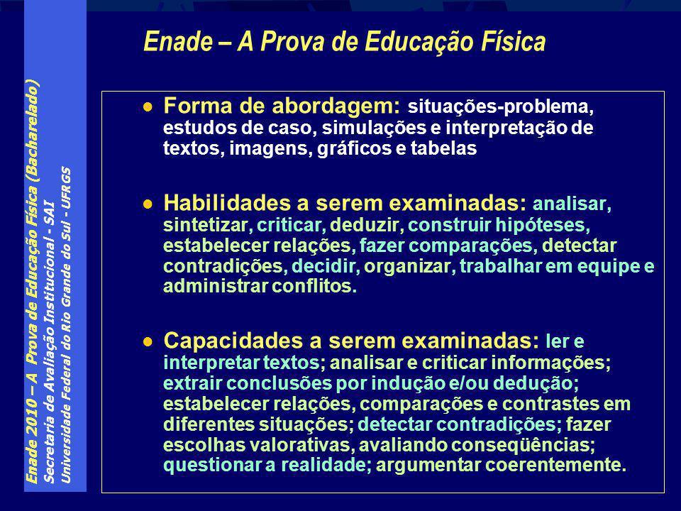 Enade 2010 – A Prova de Educação Física (Bacharelado) Secretaria de Avaliação Institucional - SAI Universidade Federal do Rio Grande do Sul - UFRGS Fo