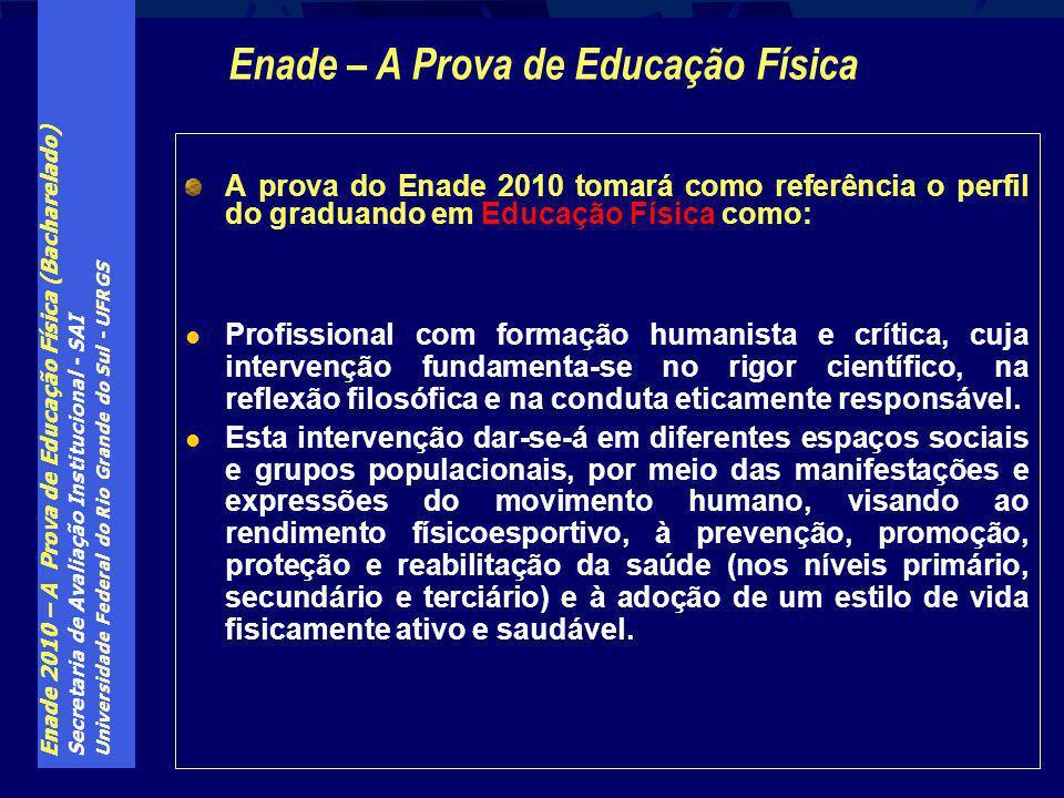 Enade 2010 – A Prova de Educação Física (Bacharelado) Secretaria de Avaliação Institucional - SAI Universidade Federal do Rio Grande do Sul - UFRGS A
