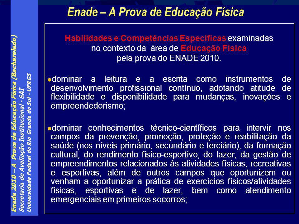Enade 2010 – A Prova de Educação Física (Bacharelado) Secretaria de Avaliação Institucional - SAI Universidade Federal do Rio Grande do Sul - UFRGS Ha