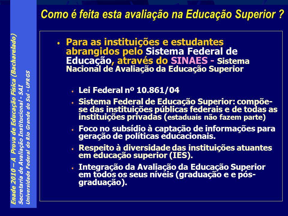 Enade 2010 – A Prova de Educação Física (Bacharelado) Secretaria de Avaliação Institucional - SAI Universidade Federal do Rio Grande do Sul - UFRGS Habilidades e Competências Específicas examinadas no contexto da área de Educação Física pela prova do ENADE 2010.