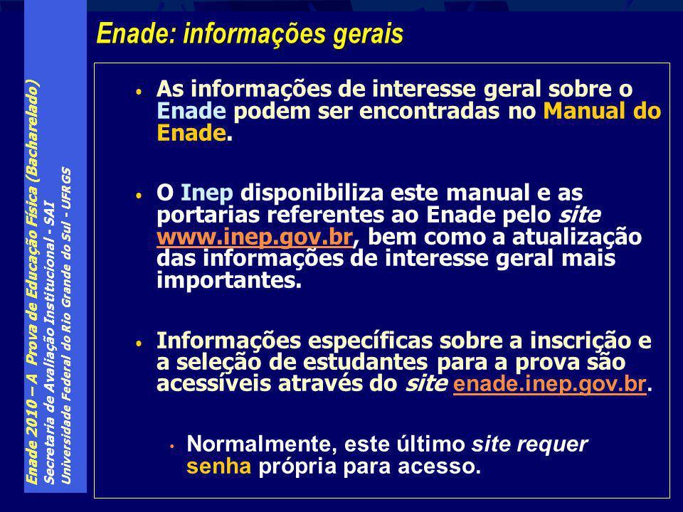 Enade 2010 – A Prova de Educação Física (Bacharelado) Secretaria de Avaliação Institucional - SAI Universidade Federal do Rio Grande do Sul - UFRGS As