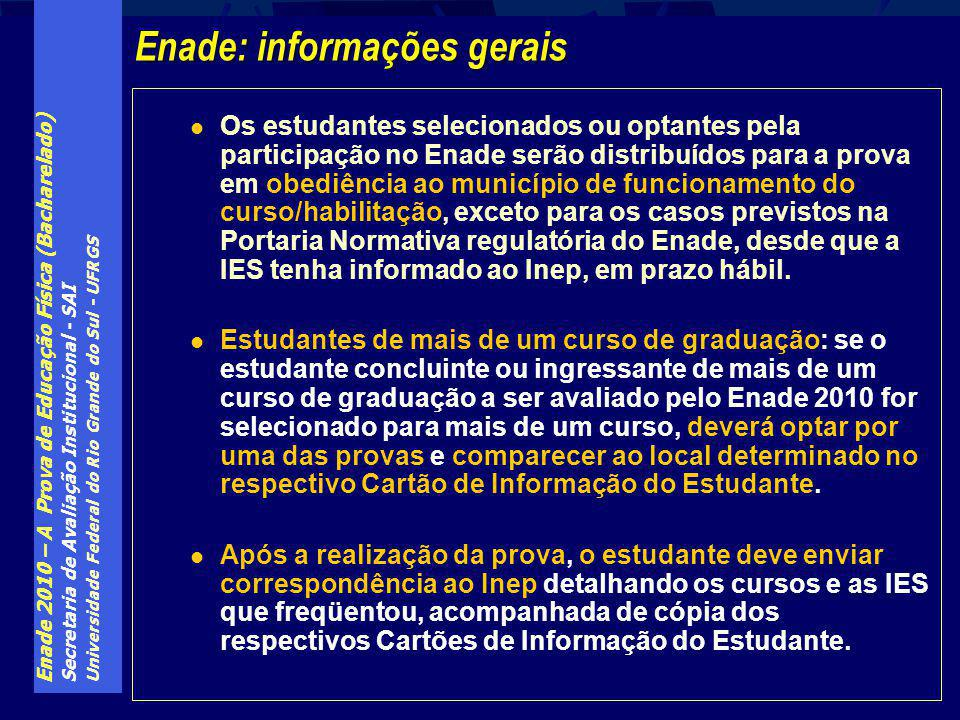Enade 2010 – A Prova de Educação Física (Bacharelado) Secretaria de Avaliação Institucional - SAI Universidade Federal do Rio Grande do Sul - UFRGS Os